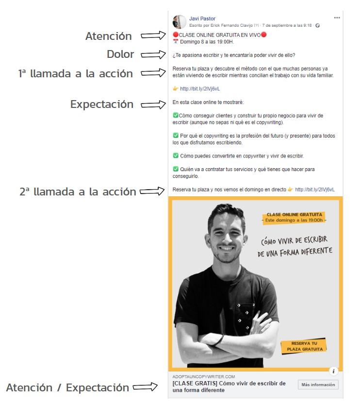 Ejemplo de anuncio con fórmula PACE o DALE