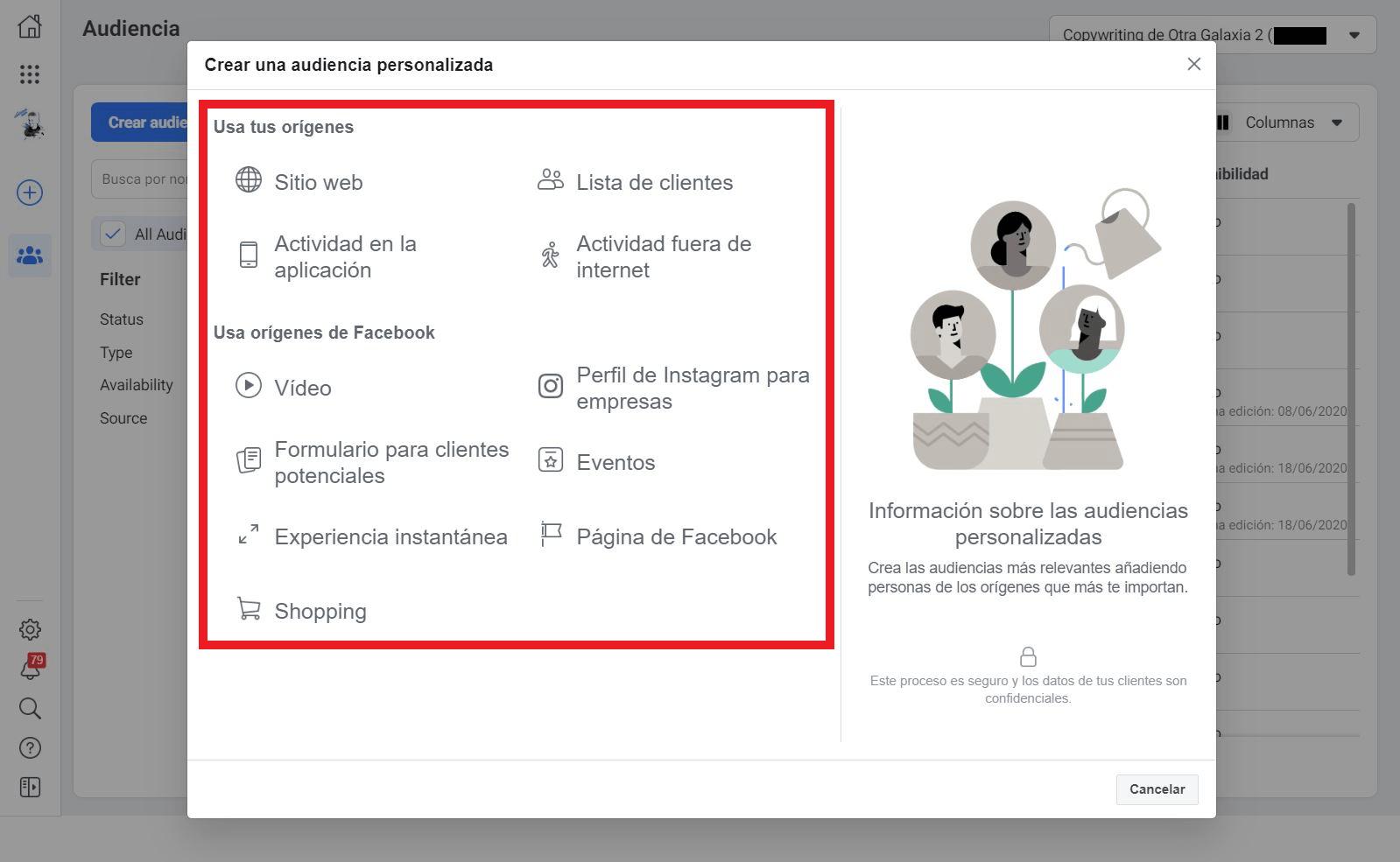 Audiencia Personalizada Administrador de Facebook