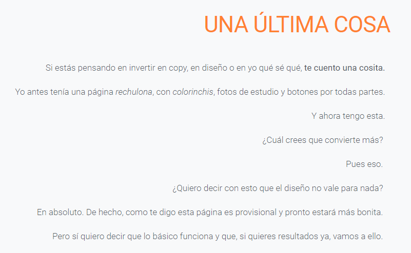 Final de la one page de lean copywriter