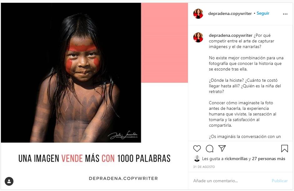 Post en instagram de Esther