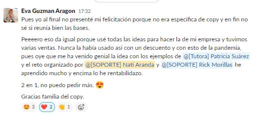 Mensaje de Eva Guzmán