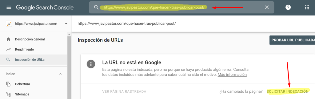 mandar a indexar a Google Search Console
