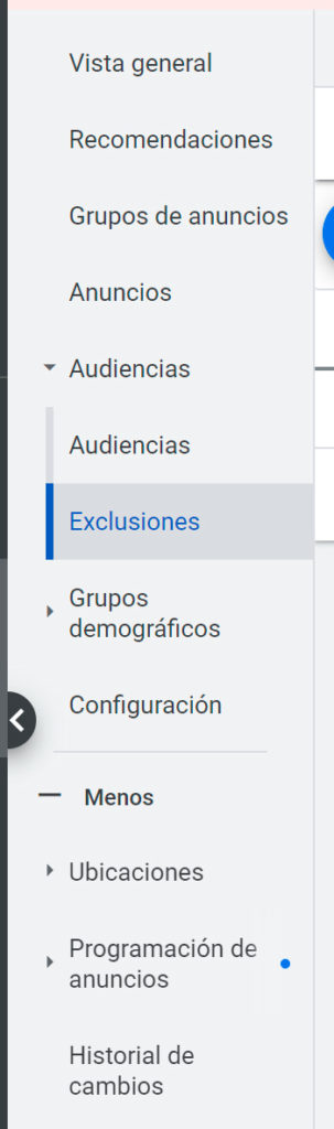 exclusiones youtube ads