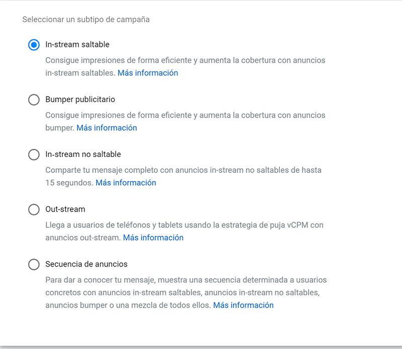 """Formatos disponibles para las campañas de """"Cobertura y notoriedad de la marca"""""""