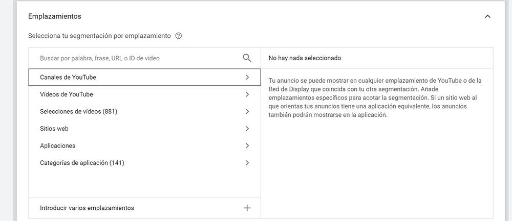 Segmentación por emplazamientos en Youtube Ads
