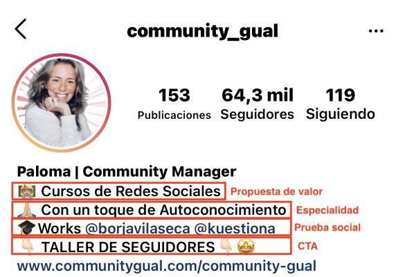 Bio de community_gual en Instagram