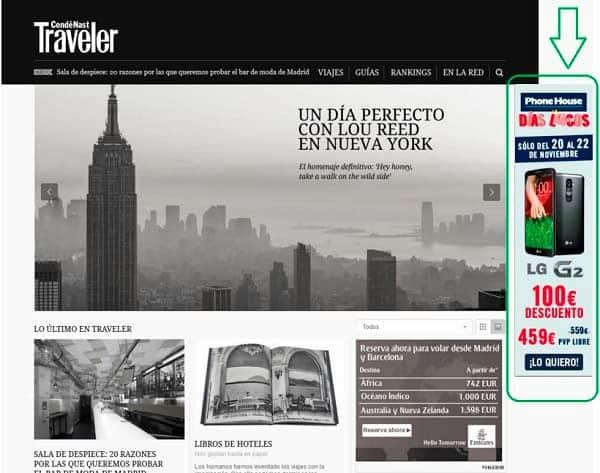 Ejemplo de anuncio de Display Skyscraper