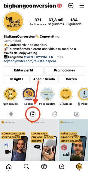Reels de una cuenta de instagram